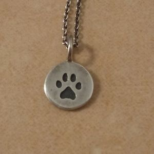 Jewelry - Tiny Sterling Silver Paw Print Necklace